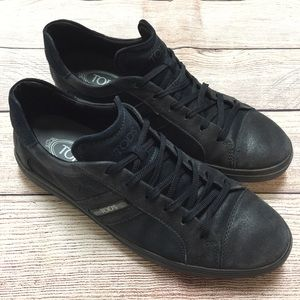 Tod's Men's Black Leather Sneaker Size 8.5